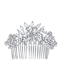Ever Faith Bridal Flower Snowflake Hair Comb Clear Austrian Crystal Silver-Tone