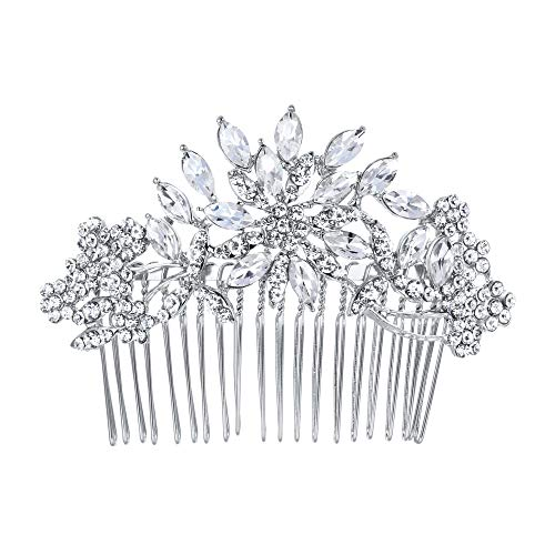 EVER FAITH Bridal Flower Snowflake Hair Comb Clear Austrian Crystal Silver-Tone -