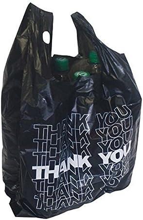50x Bolsa de Transporte de Negro kibel entragetasche Bolsa Bolsa de plástico Thank You 54x 28+ 12cm 24My 15L