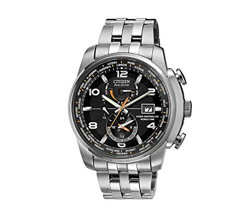 : Citizen Men's Eco-Drive Silvertone and Black World Time A-T Watch