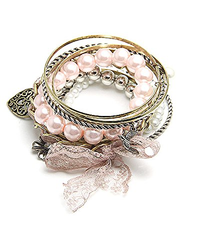 young u0026 forever paradiso pink flower antique heart charm pearl bracelet set for women girls