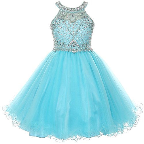 iGirldress Girls Rhinestone Halter Neck Dazzling Junior Bridesmaid Dress Aqua Size 4 ()