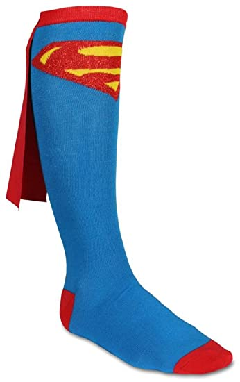 633e0cb1592 Amazon.com  Junior s Superman Cape Knee High Socks - One Size (Blue)   Clothing