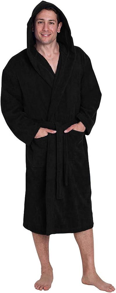 John Christian - Albornoz de Rizo 100% algodón con Capucha para Hombre - Negro (XXL): Amazon.es: Ropa y accesorios