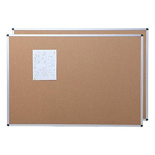 VIZ-PRO Cork Notice Board, 48 X 36 Inches, 2 Pack, Silver Aluminium Frame