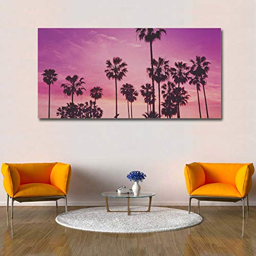 Libaoge Wall Print Art   Looking Up at The Tree On The Purple Sky - Photograph Printed on Canvas for Home Wall Decoration   Stretched by Wooden Frame,Ready to Hang - 16X32 Inch -