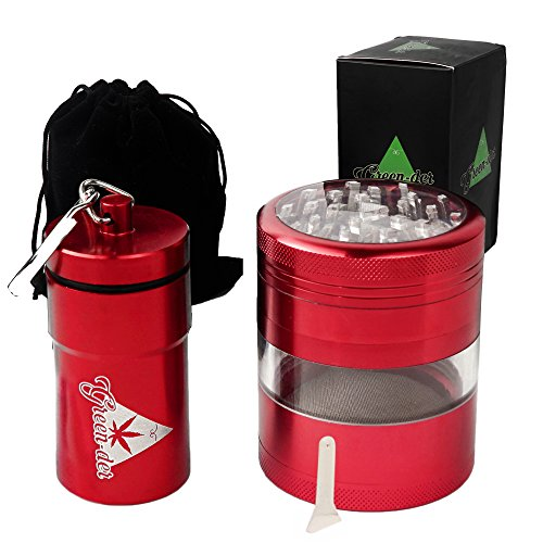 Cool Herb Grinder Set for Weed, Spice and Tobacco: Large 4pc, 3.25 inches Tall, Metal Crusher with Pollen/Keef Catcher and Smell Proof Herb Container, Red by Green-Der (Proof Weed)