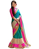 Shiroya Brothers Women's Silk and Paper Silk Embroidered Saree with Blouse Piece (pra_b_Multicolour_Free Size)