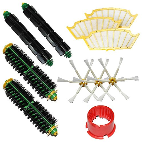 EcoMaid Bristle & Flexible Beater Brushes Cleaning Tool Pack Mega Kit for iRobot Roomba 500 Series Roomba 510, 530, 535, 540 580 Vacuum Cleaning Robots all Green, Red, Black cleaning head