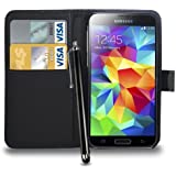 Samsung Galaxy S5 Leather Wallet Flip Case Cover Pouch & Touch Stylus Pen + Screen Guard & Cleaning Cloth (Black)