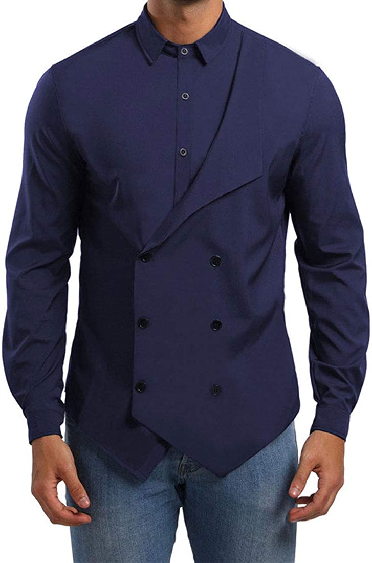 YUNY Mens Slim Double Breasted Fake Two Piece Long Sleeve Dress Shirt Navy Blue L