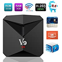Newest TV Box Android 7.1, V9 Smart Box Amlogic S912 Octa Core 3GB RAM 32GB ROM H.265 HEVC 3D 4K HD 2.4G/5G Dual Band Wi-Fi BT4.0