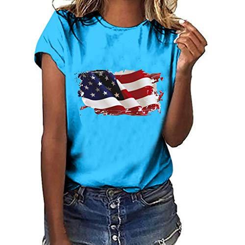 Sunhusing Ladies Solid Color Round Neck Short Sleeve Independence Day Victory Flag Print Slim Joker T-Shirt Blue