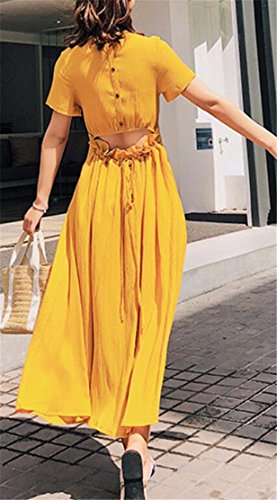 Swing Cromoncent Yellow Tie Dress Backless Casual Maxi Women Pleated Irregular ngq4rwgX