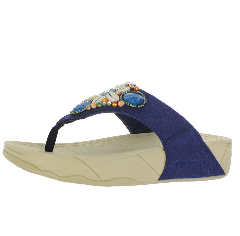 INFMETRY Women\'s Fashion Sea Shell Jewelry Wedge Flip-Flop (EU 41, Blue)