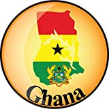 Ghana Map Flag Label Home Decal Vinyl Sticker 12'' X 12''