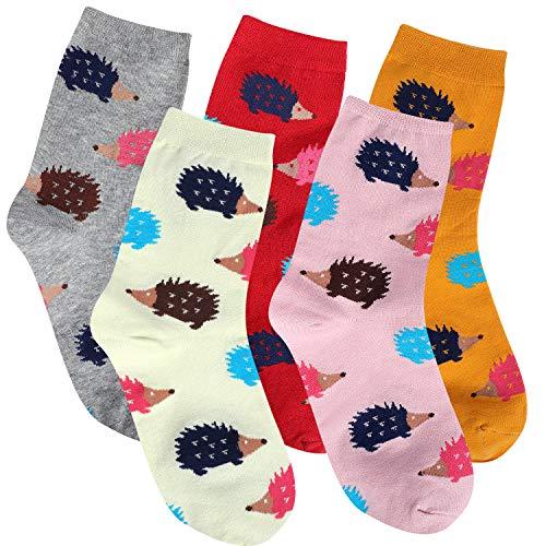 Girl Hedgehog - Jeasona 5 Pairs Womens Hedgehog Socks Cotton Funny Cute Animal