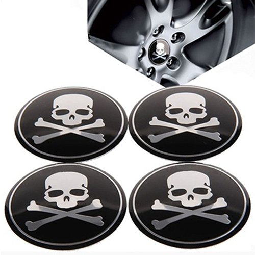 angel3292 Clearance Deals 4Pcs Car Wheel Center Hub Cap Skull Tire Emblem Decal Stickers ()