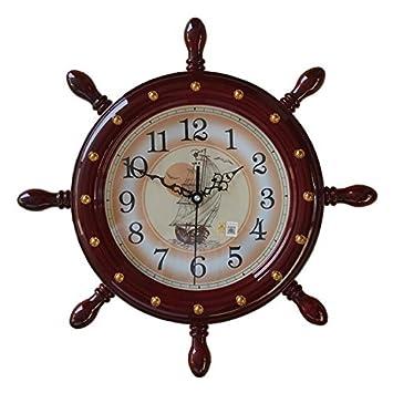 HUANGYAHUI Despertador Al Timón Del Barco Lanza Reloj De Pared Relojes De Salón Grande Reloj De