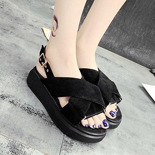 RUGAI-UE Sandalias de verano mujer estudiante plana transversal inferior grueso zapatos de ocio Black