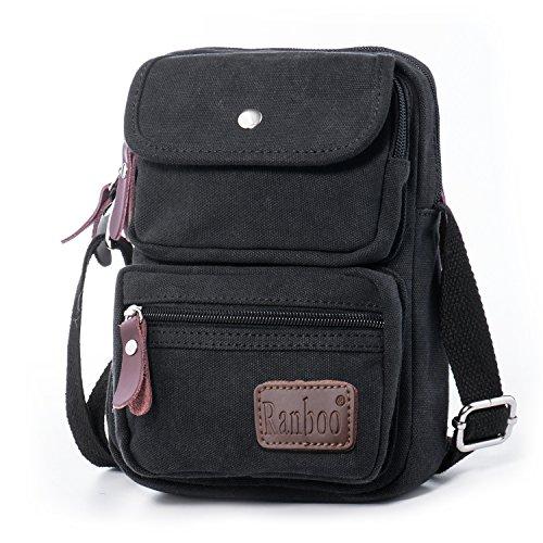 611677282408 Hengwin Mini Across the Body Travel Bag Light Canvas Shoulder Purses Handy  Flight Bags for Men Women Boys Girls with Many Organiser Pockets (Black) -  Buy ...