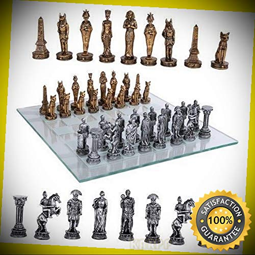 KARPP Kingdoms at War Egyptian VS Roman Army Resin Chess Pieces with Glass Board Set Perfect Indoor Collectible -