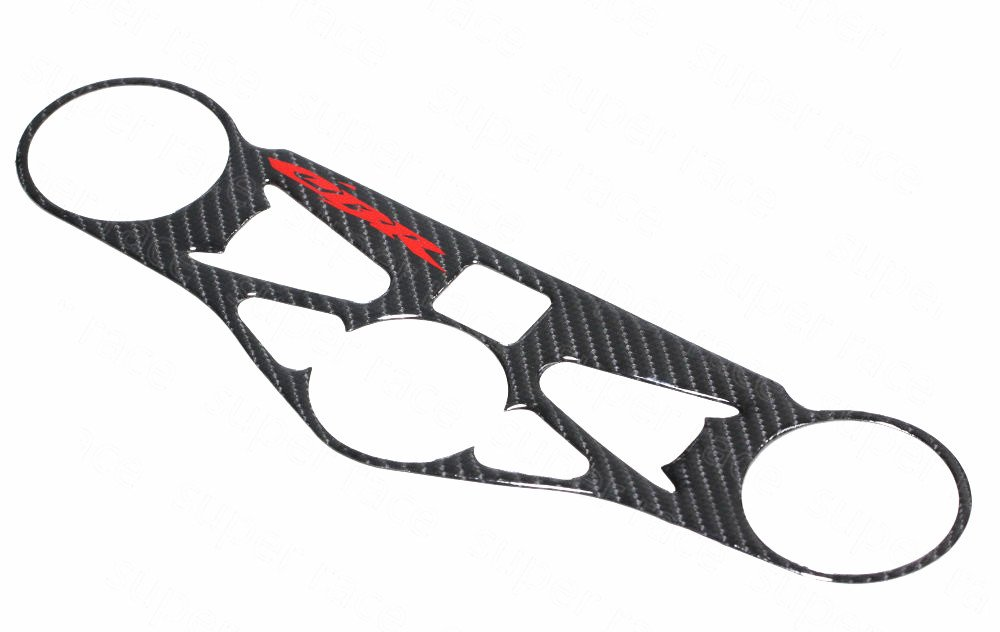 Decal Story 3D Real Carbon Fiber Emblem Top Clamp Triple Tree Cover Sticker Decal Raise Up Polish Gloss For Honda CBR1000RR 2008-2012 by Decal Story