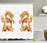 Ambesonne Dragon Shower Curtain, Twin Fire Dragon Zodiac