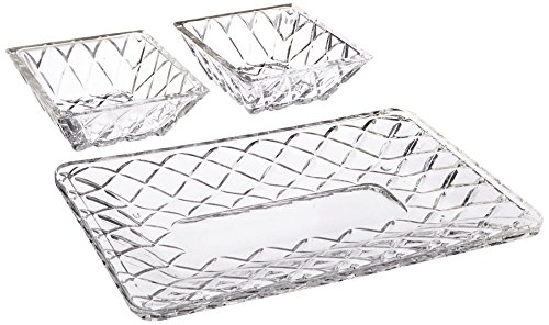 Crystal Serving Platters - Fifth Avenue Crystal Muirfield Faceted Crystal 3-Piece Serving Set