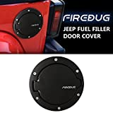 Firebug Classic Jeep Wrangler Gas Tank Cover Steel Black Powder Coated, Jeep Fuel Tank Cover, Gas Cap Cover, Jeep Fuel Filler Door Cover, Jeep Wrangler Accessories