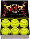 Mpowered Baseball 7777 Leather Softballs (Pack of 72 Softballs), Optic Yellow, 375 Pounds/.47 COR
