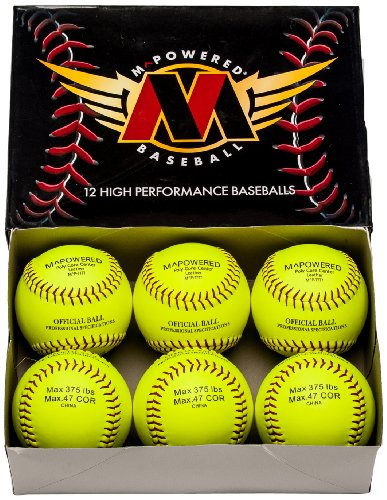 Mpowered Baseball 7777 Leather Softballs (Pack of 72 Softballs), Optic Yellow, 375 Pounds/.47 COR by M^POWERED BASEBALL
