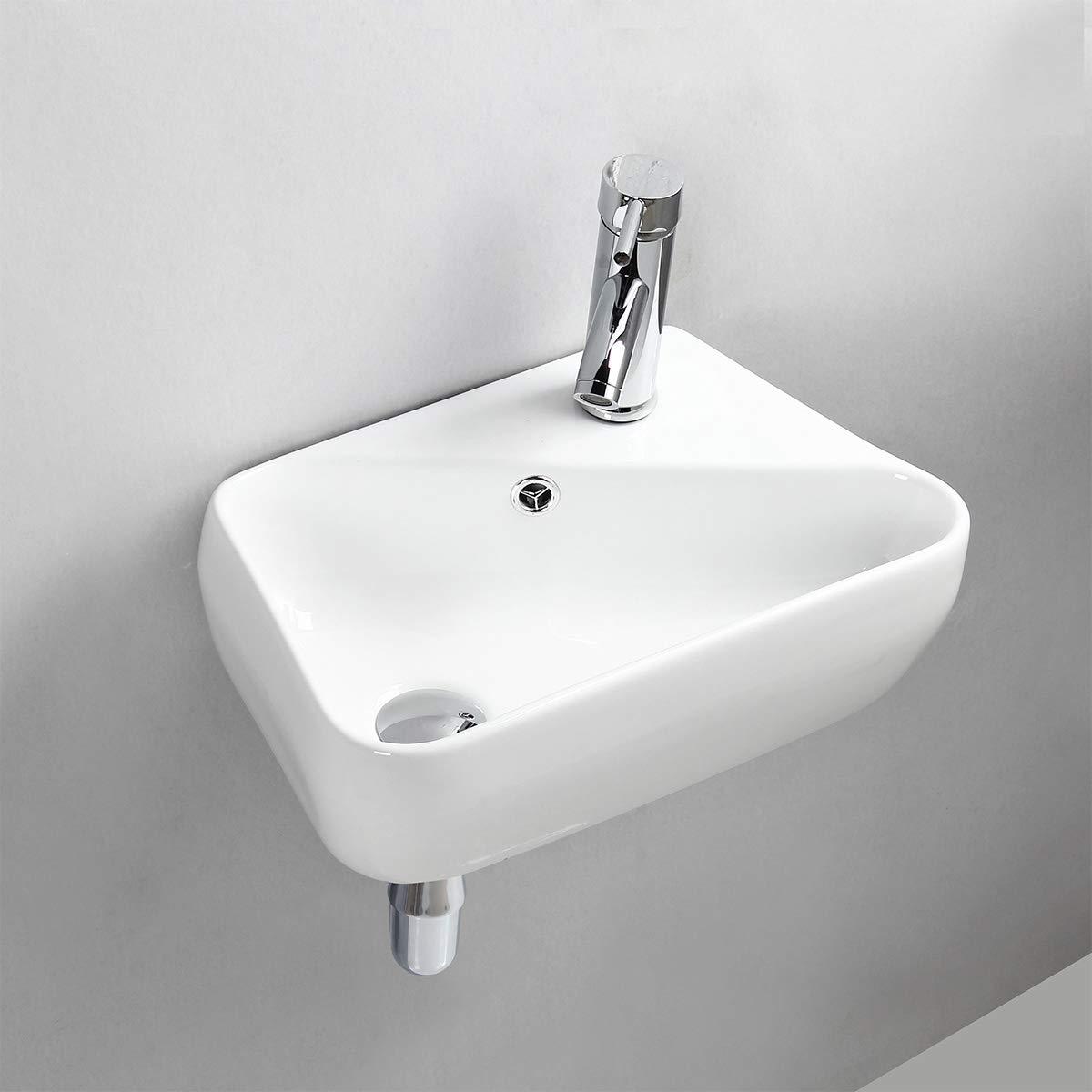 Gimify Lave Main Suspendu Mini Lavabo Céramique Mural pour WC Vestiaire Salle de Bain, Blanc 45x27.5x15cm