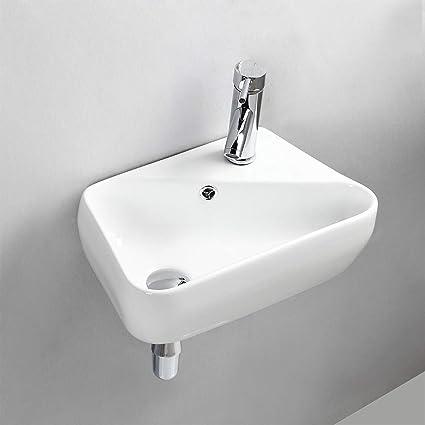 Rubinetti A Muro Bagno.Gimify Lavabo Da Parete Lavello Piccolo Da Bagno Appendere Al Muro Ceramica Bianco 45x27 5x15cm Senza Rubinetto