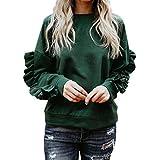 BingYELH Fashion Womens Casual Lace Long Sleeve Pullover Crop O-Neck T-Shirt Blouse Tops