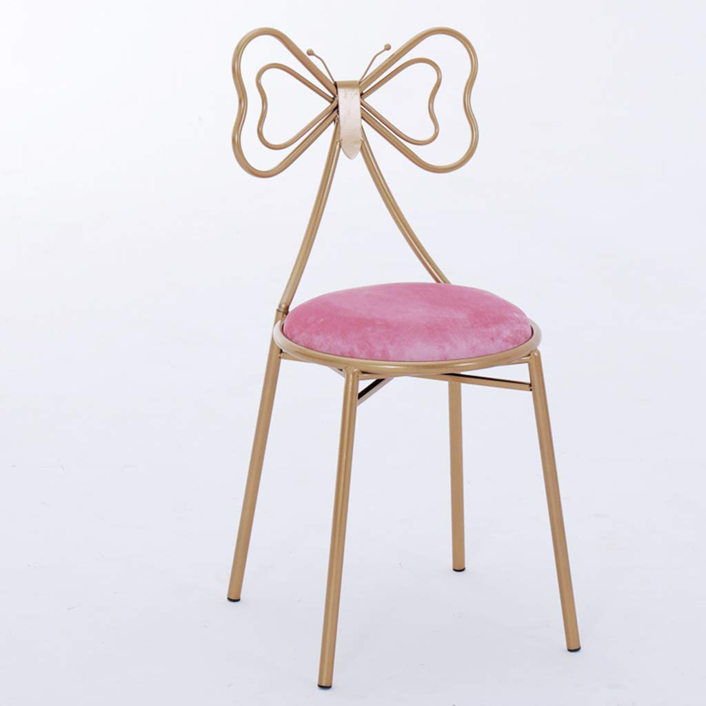 Pinkfluff Chair Bedroom Dressing Table Stool Cloakroom Multifunctional Stool Iron Art Metal Chair Clothing Store Armchair Home Environmental Predection Dressing Chair,Pinkfluff