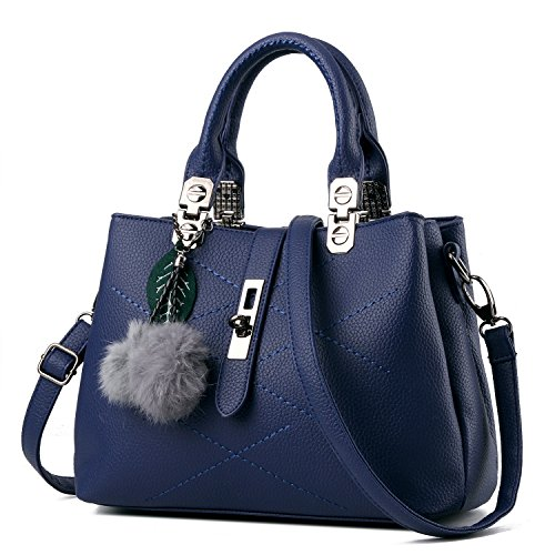 Pendant Fashion Pompon PU Women Classic KAMIERFA Collection Designer Purse Women Handbag Blue Satchel Purse for Handbag Leather with Navy EnYnqgx