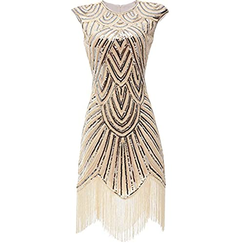 eforpretty Womens 1920s Diamond Sequined Embellished Fringed Flapper Dress (Small),Beige