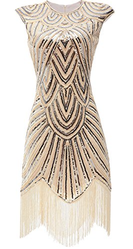 [eforpretty Womens 1920s Diamond Sequined Embellished Fringed Flapper Dress(Medium),Beige] (Gold Flapper Dress)