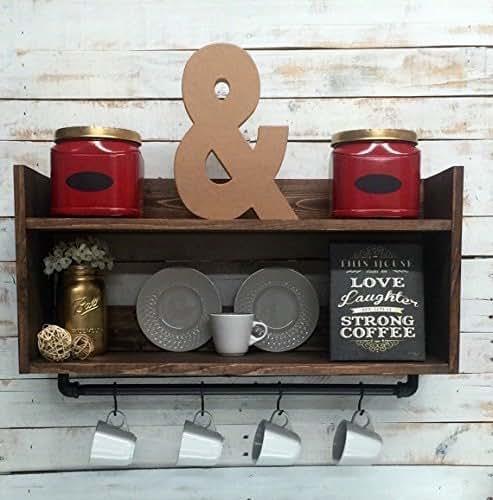 Rustic kitchen shelf coffee bar shelf wall for Bar decor amazon