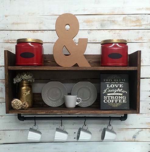 Amazon Com Rustic Kitchen Shelf Coffee Bar Shelf Wall Hanging