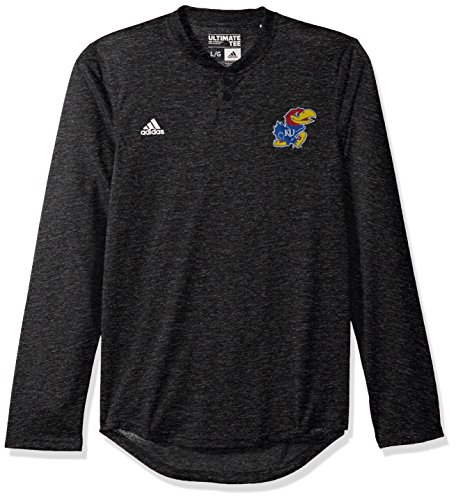 NCAA Kansas Jayhawks Adult Men Logo Long Sleeve Henley Tee, Large, (Kansas Jersey)