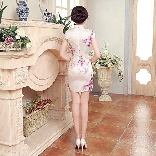 in classico beige Abito donna stampato fiore corto cinese cheongsam Acvip Qipao stile wqPtq8gZ