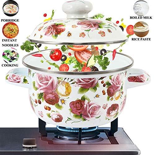 Ovenschotel Met Deksel, Enamel Pot Van De Soep 18Cm 3-4L Stockpot Mini Saucepan Melk Noedels Koken Pan Pot Voor Inductie Kookplaat Gasfornuis, White