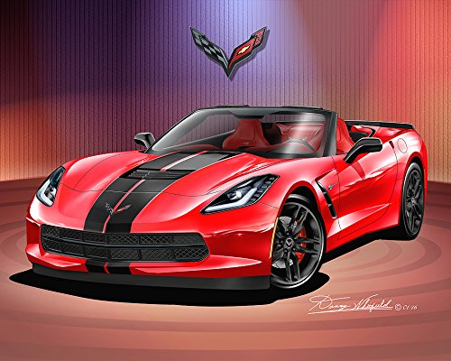 2014 - 2015 CORVETTE CONVERTIBLE - TORCH RED / HOOD STRIPES - ART PRINT POSTER BY ARTIST DANNY WHITFIELD - SIZE 24 X 36