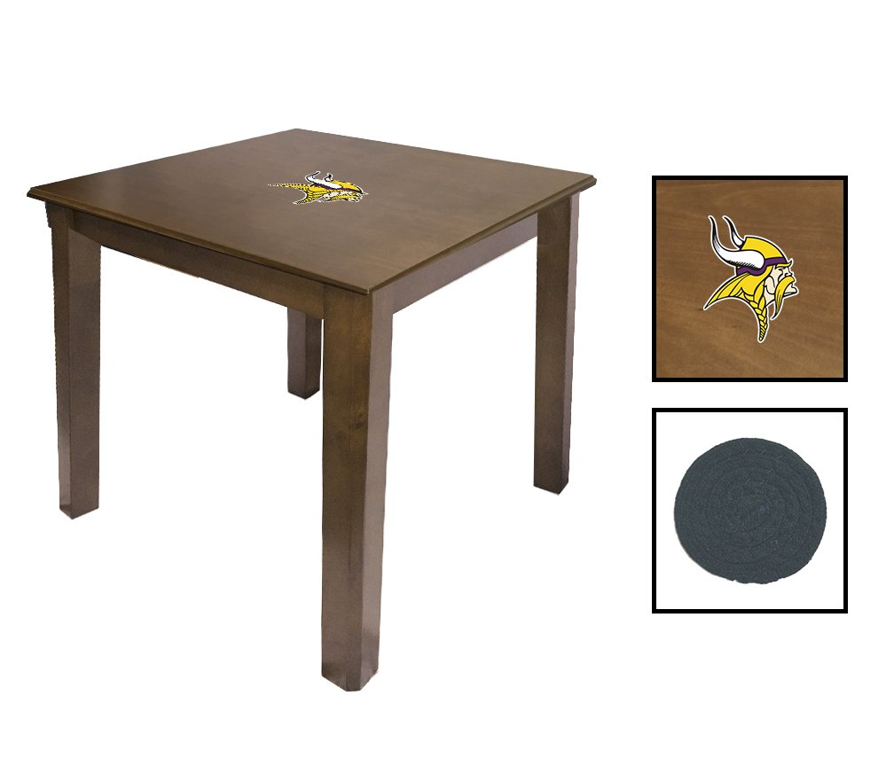Walnut Finish End Table Featuring the Choice of Your Favorite Football Team Logo - FREE Coaster Included! (Vikings)