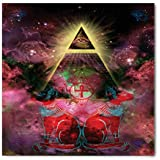 Astronomy Bandana by Ambesonne, Sacred Ancient Egyptian Pyramids with Occult Sacred Eye and Bastet Artwork, Printed Unisex Bandana Head and Neck Tie Scarf Headband, 22 X 22 Inches, Plum and Red