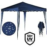 Tente pliante 3x3 m Tonnelle pavillon jardin pliable bleu + Sac de transport