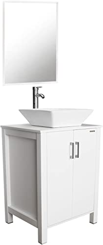 eclife 24 White Bathroom Vanity Sink Combo Cabinet Modern Stand Pedestal