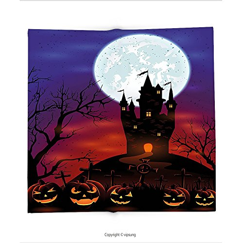 Custom printed Throw Blanket with Halloween Decorations by Gothic Haunted House Castle on Top of Hill Valley Night Sky October Festival Theme Decor Multi Super soft and Cozy Fleece Blanket
